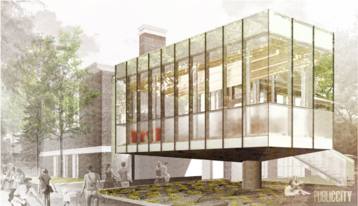 Rendering of Renovated Cornish Library Exterior